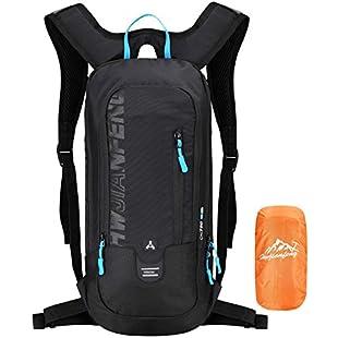 Premium Multipurpose Bike Backpack, Cycling Rucksack with Rain Cover, 6L Lightweight Ski Rucksack (Mini, Compact, Waterproof), Small Backpack for Biking Hiking Camping Mountaineering Skiing Trekking (Black):Hitspoker