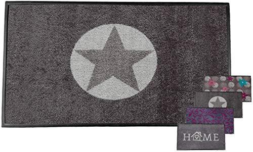 Carpet Diem Fussmatte Soft Stern 50x75cm Velour Schmutzfang Rahmen, Rückseite rutschhemmend saugstarkes Garn der Schmutzfangmatte nimmt Schmutz und Wasser auf für draussen und drinnen