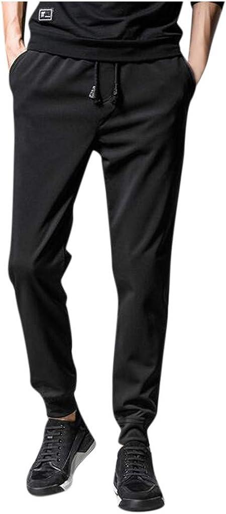 YUNDAN Lightweight Sweatpants for Mens Basic Black Plus Size Loose Fit Pants Running Sports Elastic Waist Long Trousers