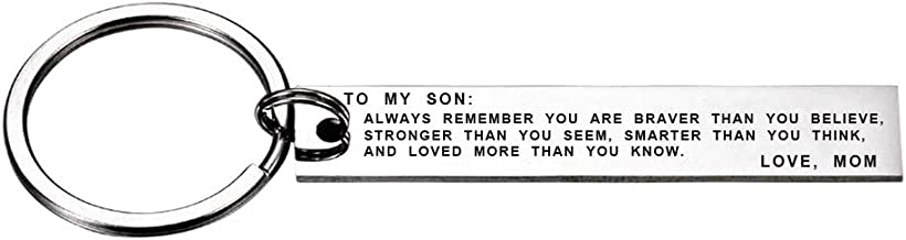 To My Son Always Remember You Are Braver Than You Believe Keychain Gift from Mom