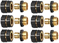 """HQMPC Garden Hose Connector Garden Hose Quick Connector Male and Female 3/4\\"""" GHT 6 Sets"""