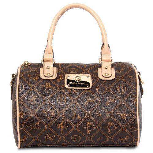 CASPAR klassische Damen Tasche / Handtasche / Henkeltasche / Bowlingtasche - 3 Farben, Farbe:nude