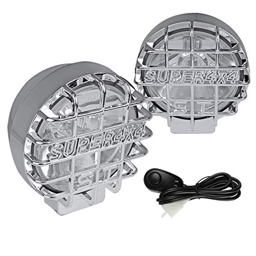 "Spec-D Tuning 2PC 6"" Work Clear Fog Lights + Chrome Super 4X4 Guard W/Wire & On/Off Switch Pair"
