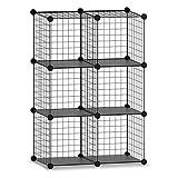 YUEWEIWEI 6 estantes de almacenamiento de alambre de cubos, armario de bricolaje Gabinete de armario de armario estantería, ahorro de espacio Metal Mesh Grid Rack Organizador para la escuela de oficin