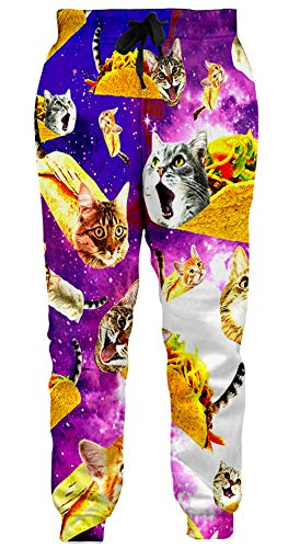 Loveternal 3D Printed Funny Titanic Katze Hosen Cool Graphic Jogginghose Casual Baggy Jogger mit Taschen für Jugendliche L