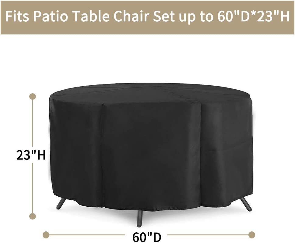 LBW Patio Furniture Covers Waterproof Round Patio Table Chairs ...