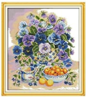 クロスステッチ刺繍 キット40x50cm DIY ガラス色の果物 初心者刺しゅうキット11CTプリント済みキャンバスクロスステッチの布刺繍キット手作り家具の装飾