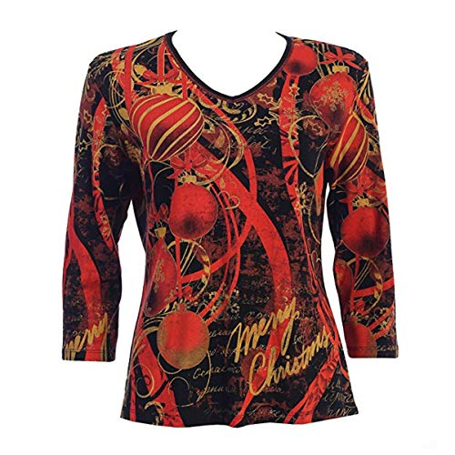 Jess & Jane Christmas Decor Top in Black, Red & Gold