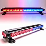 CUMART 26.5' Red Blue 54 LED Light Bar Fit For Police Cops Vehicles Truck Cars Double Side Emergency Warning Flash Strobe Light Traffic Advisor with Magnetic Base (26.5' 54LED, Red/Blue)