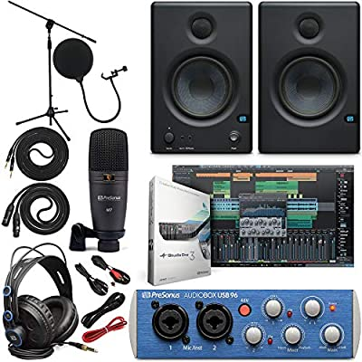 "Presonus AudioBox 96 Audio Interface Full Studio Bundle with Studio One Artist Software Pack w/Eris 4.5 Pair Studio Monitors and 1/4"" TRS to TRS Instrument Cable by Presonus"