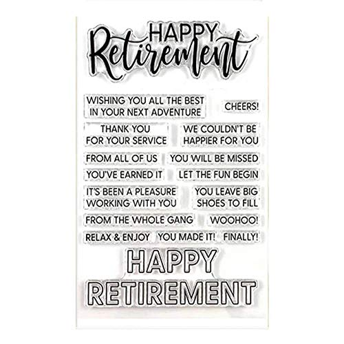 Happy Retirement Dies and Stamp Sets for Card Making DIY Scrapbooking Wishing You All The Best In Your Next Adventure Words Phrase Clear Rubber Stamp for Scrapbooking Paper Crafting Stencil Die Cuts