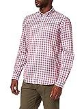 Cortefiel Camisa Manga Larga Lino/ALG Vichy, Fucsia, L para Hombre