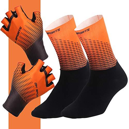 MYSdd Halbfinger-Fahrradhandschuhe, mit Socken, Herren-, Damen-, Fahrradhandschuhen, Rennrad-Set - Orange XM