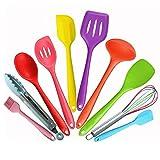 Juego de utensilios de cocina Color de 10 piezas de silicona Utensilios de cocina Set, resistente al calor multicolor de cocina de cocina, como cepillo, pinzas, cuchara, cuchara ranurada, espátula gra