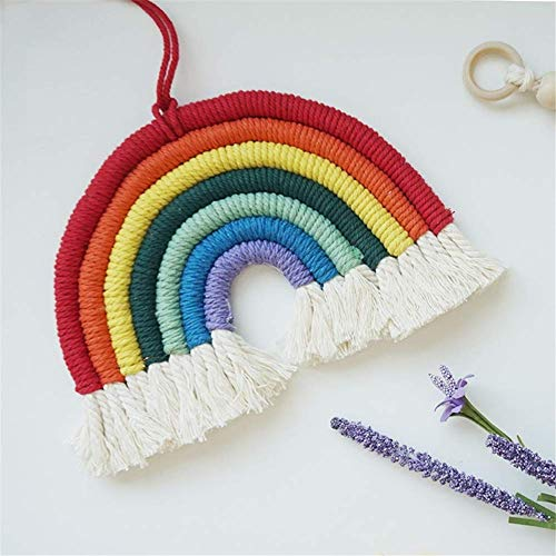 YLCJ Macrame Rainbow Wall Hanging Tapestry, Home Hand Woven Tapestry, Nordic Cotton A Children's Room Decor Tapestry A 21x15cm (8x6inches)