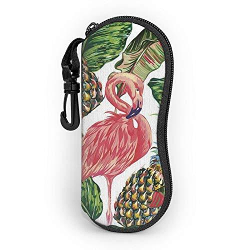 Gafas de sol suave estuche ligero portátil impreso en 3D, diseño de flamenco, frutas de piña, hoja de cremallera, caja con clip para cinturón para hombre y mujer