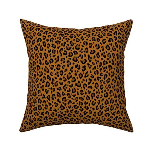 Luipaard Print in gele Oker Luipaard Spots Punk Rock Animal Print Fluweel zacht kussen Cover Vierkant Decor 18