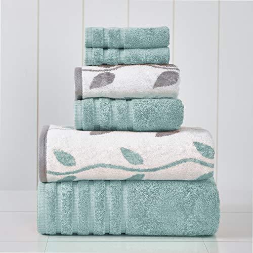 Amrapur Overseas 6-Piece Yarn Dyed Organic Vines Jacquard/Solid Ultra Soft 500GSM 100% Combed Cotton Towel Set [Aqua]