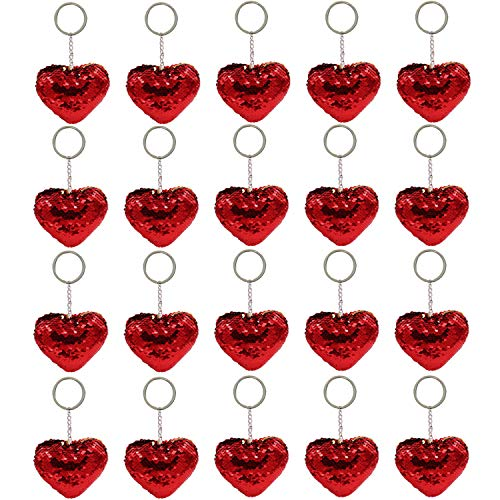 Bcpress 20 Pack Valentine Sequin Heart Keychain Red Glitter Flip Sequin Key Chains for Valentine's Day Gifts Party Decoration