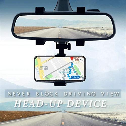 Ceuta Retails HOJI Anti Shake & Fall Prevention 360 Degree Rotation Adjustable Anti Vibration Car Phone Holder for Rear View Mirror Mount Stand - Supports Mobile Up to 6.5 inch Smartphones