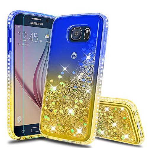 Galaxy S6 Hülle, Samsung Galaxy S6 Glitzer Hüllen mit HD Displayschutzfolie, Atump Fun Glitzer Flüssigkeit Sparkle Diamant Cute TPU Silikon Schutzhülle für Samsung Galaxy S6 blau/gelb