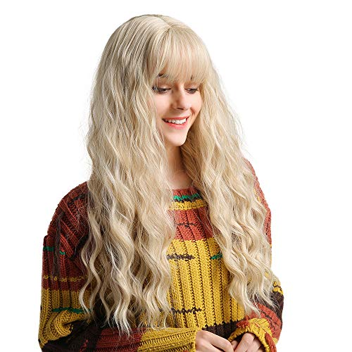 EMMOR Long Blonde Wig for Women - Natural Synthetic Hair Middle Part With Air Bang Wavy Curly Wigs, Party Cosplay Daily Use (2pcs Free Wig Cap)