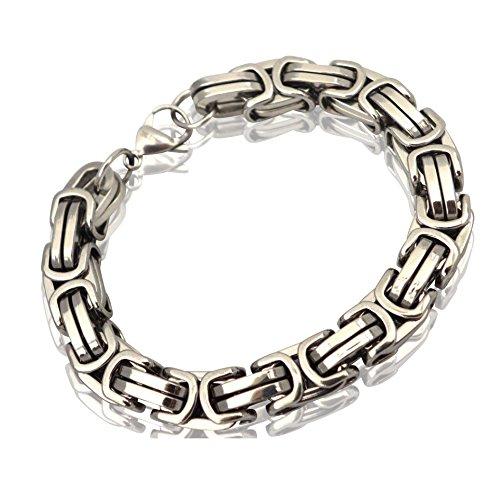 Herren Edelstahl Ketten-Set Halskette Armkette Armband Edelstahlkette 12mm Königskette Silber Silberweiß (Armkette)