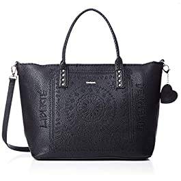 Desigual – Grand sac à main cabas noir femme en simili cuir Soft bandana (19waxp80) taille 30.5 cm