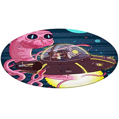 Psychedelic Cartoon Morty and Rick Art Round Area Rug for Bedroom, Living Room, Home Kitchen/Memory Foam Premium Kitchen Rug Entrance Mat, Non-Slip Fast Dry Nursery Rugs (24' Diameter)