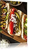 Pixxprint Hot-Dogs américains Art Toile 80x60cm Murale XXL