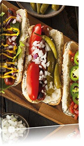 American hot dogsFoto Canvas | Maat: 100x70 cm | Wanddecoraties | Kunstdruk | Volledig gemonteerd