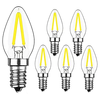 YIUN 2W LED Filament C7 Night Light Bulb, 6000K Cold White 200LM, E12 Candelabra Base Lamp C7 Mini Torpedo Shape, 15W Incandescent Bulbs Equivalent, Dimmable, 6 Pack