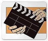 Alfombrilla de ratón para Actor, Director de claqueta Retro del Arte Pop en el Cine de la cámara de producción del Set, Alfombrilla de Goma Antideslizante Rectangular