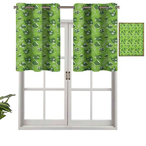 Hiiiman Moderna cortina de ventana con cenefa con teteras y tazas de margaritas florecientes, juego de 2, 42 x 36 pulgadas, paneles opacos decorativos para el hogar para sala de estar
