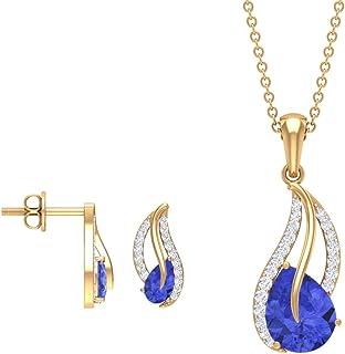 Pear Cut 2.75 Tanzanite Jewelry Sets, Teardrop Blue Stone Necklace and Earrings, Diamond Pendant Earrings, December Births...