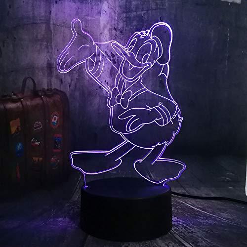 Schöne 3D-Filmfigur Niedlich Don Donald Duck Goofy Mickey Der Freund führte 7 Farbwechsel Nachtlicht Cartoon Baby Schlafzimmer Schlaflicht Nachttischlampe Kind Junge Mädchen Weihnachtsspielzeug