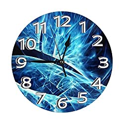 Black and Blue Neon Lights Clock Number Modern Battery Operated Silent Wall Clock, Home Living Room Bedroom School Clocks Kids Wall Clock