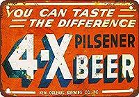 4-Xピルスナービール 金属板ブリキ看板警告サイン注意サイン表示パネル情報サイン金属安全サイン