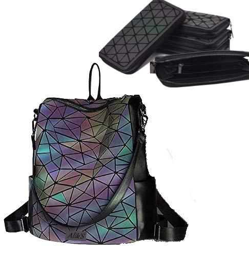 Alik's rugzak, geometrisch design, verlicht, met reflecterende facetten, incl. bijpassende portemonnee SB1 FULLCOLOR