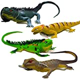 Carykon 4PCS Simulation Big Lizard Desert Chameleon Plastic Stretch Toy 11.5 Inches Long