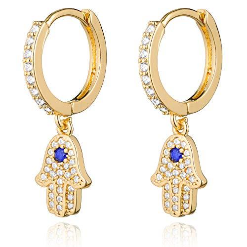 LAVLA 18k Gold Plated Hoop Earrings With Charms | Huggie Dangle Earrings | Hoop Dangle Earrings for Women Teen Girls | Cubic Zirconia Hoop Earrings (Gold CZ Hamsa)