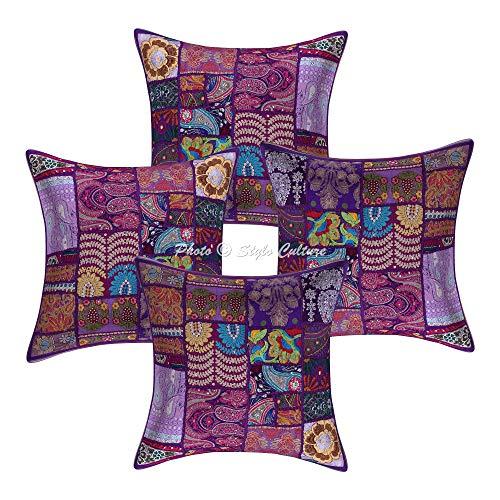 Stylo Culture Indio Resumen Fundas de Cojines Sofa 45x45 cm Púrpura Algodón Tradicional Almohadones para Sofa Fundas de Cojines Infantiles 18x18 Inch Patchwork Vintage Bohemian Floral | Conjunto de 4