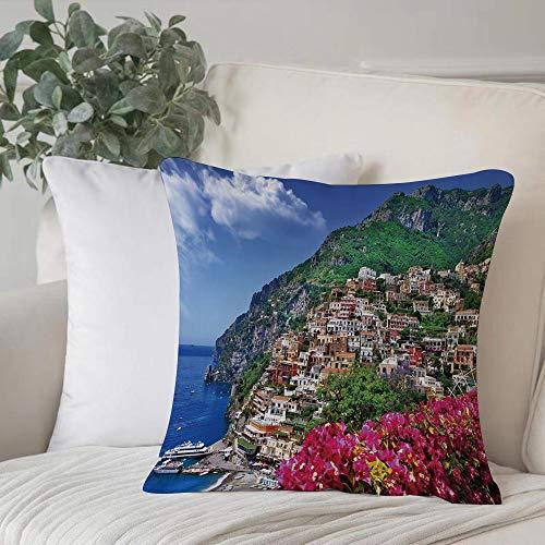 Funda de Cojín,Funda de Almohada Cuadrada para Asiento,Italia, vista panorámica de Positano Amalfi Nápoles flores florecientFundas de Almohada para Sofá Decorativas Dormitorio Coche Pulgada 45 x 45 cm