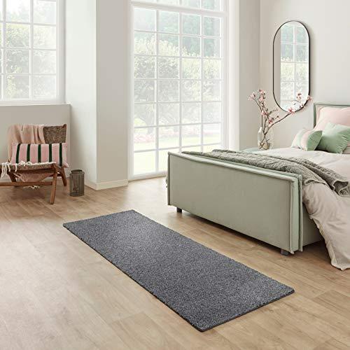Carpet Studio Santa Fe Teppich Läufer 67x180cm, Weicher Kurzflor Teppich Läufer Flur, Schlaffzimmer, Wohnzimmer & Küche, Pflegeleicht, Geruchsneutral - Anthrazit