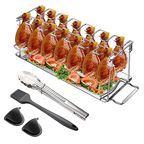 MOPOIN Support de Cuisse de Poulet, Rotissoire Verticale Poulet pour 14 Cuisses de Poulet, Grille de Barbecue avec Brosse à Barbecue + Porte-Casserole Gants Accessoires de Gril