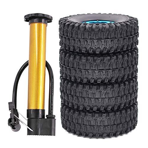 Domilay 4PCS 1.9 Pulgadas Beadlock Wheel Hub Clip 120 MM Juego de NeumáTicos para 1/10 RC Crawler Escalada Coche SCX10 TRX4 Axial 90046 -Azul