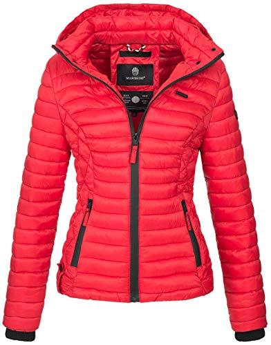 Marikoo Damen Jacke Steppjacke Übergangsjacke mit Kapuze gesteppt B600 [B600-Samt-Rot-Gr.S]