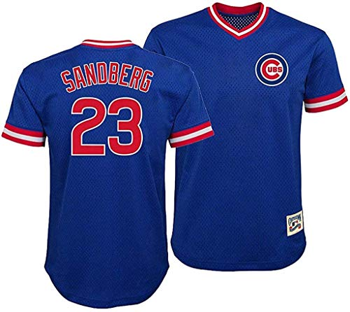 Ryne Sandberg Chicago Cubs Blue Youth Cooperstown V-Neck Mesh Jersey (Large 14/16)