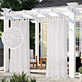 LORDTEX Burlap Linen Look Outdoor Curtain for Patio - 2 Panels Waterproof Tab Top Sheer Curtains for Pergola, Porch, Cabana and Gazebo Indoor/Outdoor Voile Sheer Drapes, 52 x 120 Inch, Vanilla