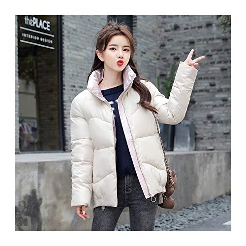 lxwi Chaqueta ultraligera cálida y resistente al viento Chaqueta de invierno chaqueta de pie para mujer Chaquetas de moda de invierno cálido ropa casual parkas (color: blanco, tamaño: L)